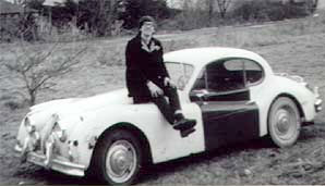 "Radio Bob says: ""This 1956 Jaguar XK-140 drophead coupe cost me $175, and I sold it (after blowing the engine) for $125."" Editor's note: yes, that's Bob. Why is this photo in the reading list? Hmm. Maybe there's a book tucked behind the driver's seat?"