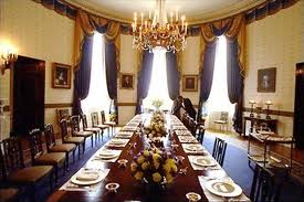 The state dining room in the White House. Let's have dinner with a few of the past Presidents.