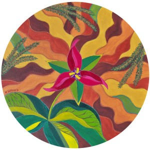 "Archive Artwork of the Day from last May: ""Trillium,"" acryic on canvas. Artist: Marion Bradish. facebook.com/riverflowstudio"