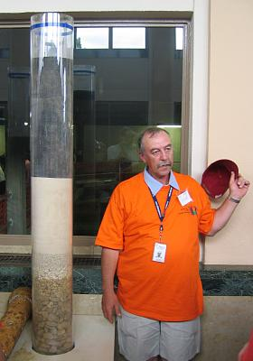 Demonstration of types of filters at the water treatment plant (Doors Open Ottawa photo from 2004 by C. Miller)
