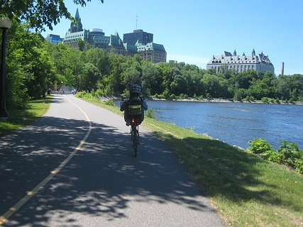 Lovely views on bike path near Ottawa River and Parliament Hill. (photo by C. Miller)