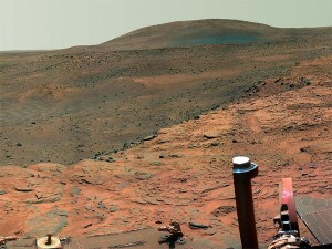 """A nice place to visit, but would you want to live there? 35 Canadians say yes to a one-way ride. Landscape composite taken by Mars Rover """"Spirit"""" in 2007. Photo: NASA"""