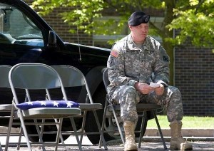 Soldier waits his turn to speak at Memorial Day observances in Canton. Archive Photo of the Day (5/26/09) by Lizette Haenel