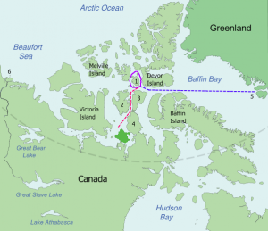 Probable routes of HMS Erebus and HMS Terror. Map via Wikipedia.
