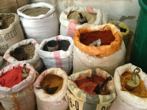 Bags of spices in Mombasa market. Photo: Conant Neville