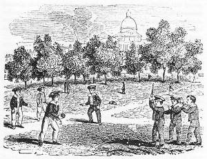 "In the 1700s game ""Rounders"" a successful batter would run around a pentagonal set of five bases, scoring a point for each base safely reached."