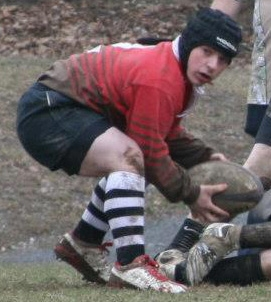 Figure 1. Josh removing a ball from a ruck. Photo: Kristen Walsh