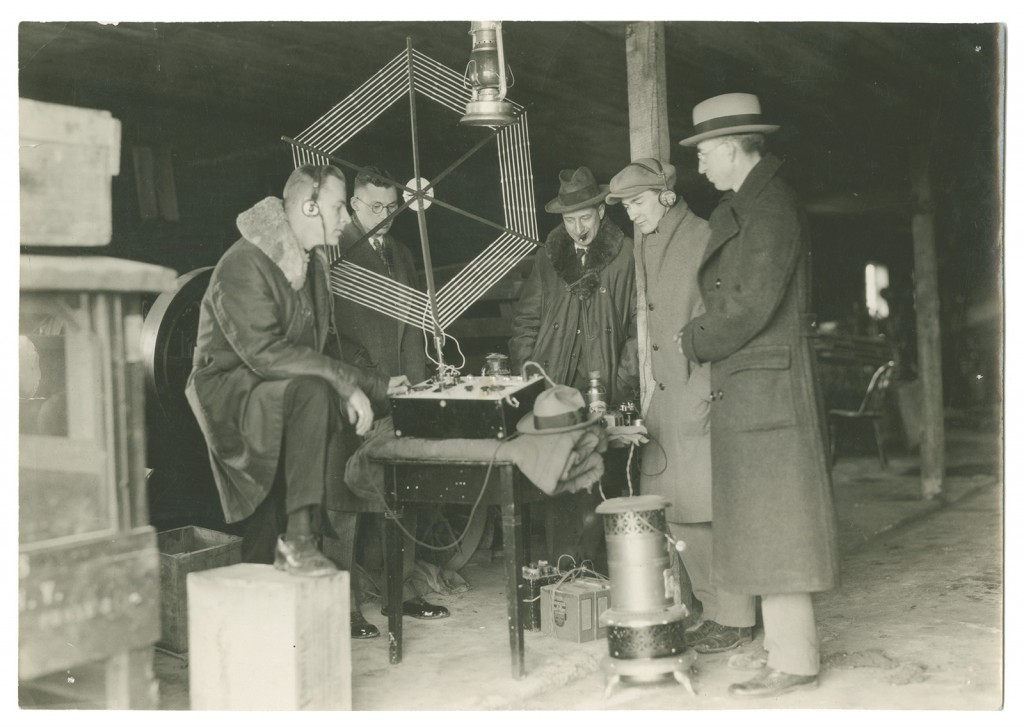 From the left, H.K. Bergman, E.L. Manning, S.E. Barber, Charles Geyh, and Ward C. Priest of the St. Lawrence University physics/engineering faculty.