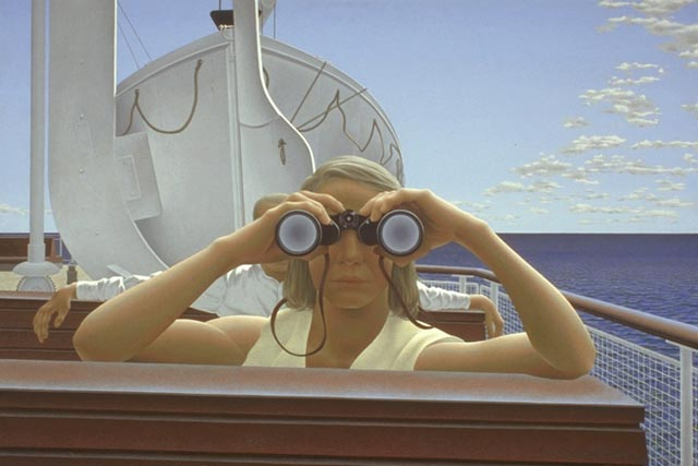 """To Prince Edward Island"" by Alex Colville featured his wife behind the binoculars. ""To Prince Edward Island"" by Alex Colville.  (1965, acrylic emulsion on masonite, 61.9 x 92.5 cm, National Gallery of Canada, © A.C.Fine Art Inc. Photo © NGC) image source: Wikipedia"
