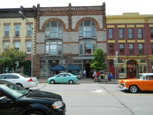 Potsdam historic buildings being recreated in community mural. Photo: Conant Neville