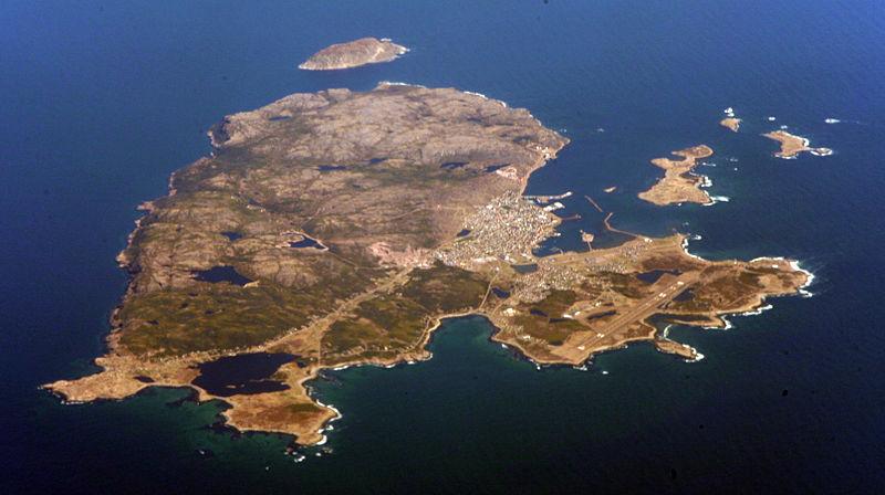 Sainte Pierre from the air. Via Wikipedia.