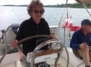 Ellen at the helm, Peter has my back, Carol took the photo.