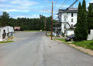 Newton Falls street, looking toward old mill chimney.