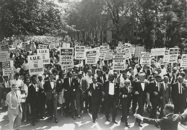 At the head of the march to the mall, on Constitution Avenue. Photographer unknown.