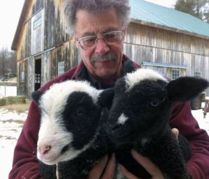 Bill Knoble in lambing season, 2013. Photo: Ellen Rocco
