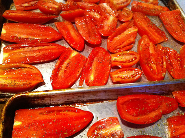 Tomatoes halfway through roasting process.