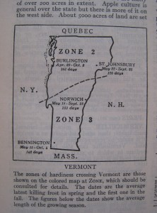 Map of typical growing seasons for Vermont, circa 1948 from Taylor's Encyclopedia of Gardening. Photo: Lucy Martin
