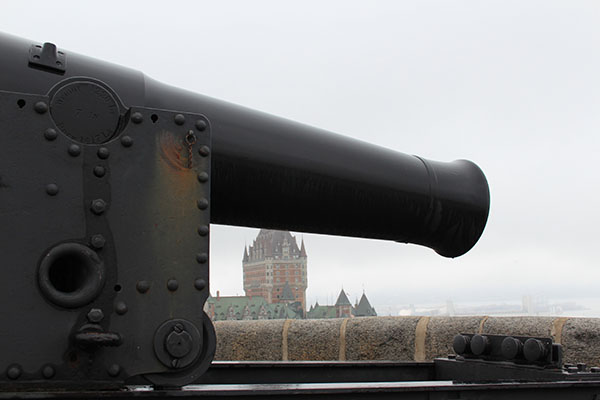A Citadelle cannon overlooking the St Lawrence River (the Frontenac in the background)