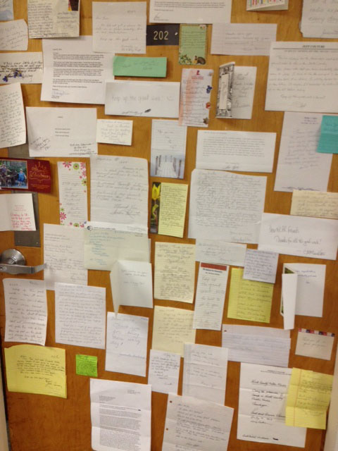 The membership office door covered with letters from stations supporters. Thank you! Photo: June Peoples