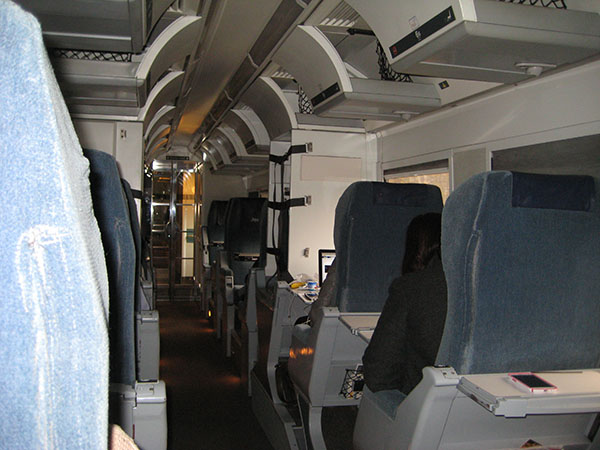 VIA Rail car on the Montreal-Quebec line