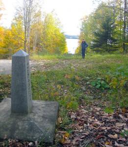 Border monument and clear-cut near Lake Memphremagog, Vermont. Photo: Craig Miller