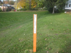A lawn in Derby Line is bisected by the border - have fun mowing that one! (photo: Craig Miller)