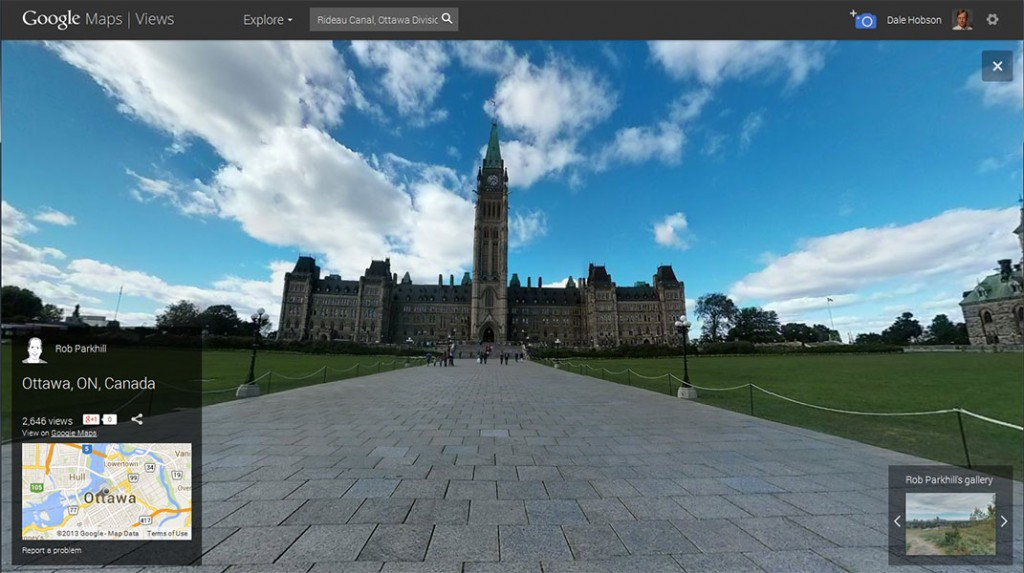 Screen shot from a Street View panorama of Parliament Hill by Rob Parkhill