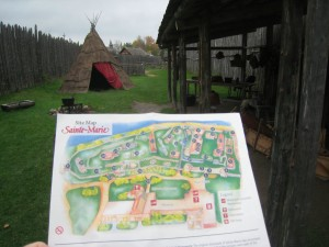 Reconstructed buildings and a site map of Sainte-Marie Among the Hurons, depciting a mission in the 1640's. (photo: Lucy Martin)