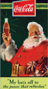Santa and Coke. Design by Haddon Sundblom