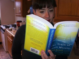 Nora Flaherty with her nose in a tome.