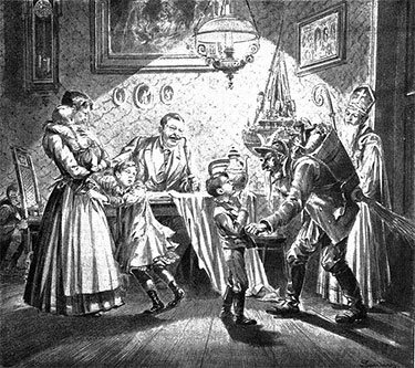 Krampus and Saint Nicholas visit a Viennese home in 1896. Pick one. Illustration: Wiener Bilder, June 12, 1896