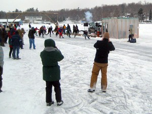 "Grey skies but good ice for this ""Skate the Lake"" race in 2011. Photo: Lucy Martin"