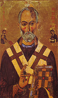 A 13th-century Egyptian depiction of St. Nicholas from Saint Catherine's Monastery, Sinai.