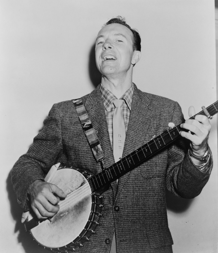 Pete Seeger with his banjo. (Photo via Wikipedia, no licensing.)