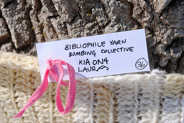 A yarn-bombed tree in Parc Jacques-Cartier, Ottawa in 2010. Photo: Angie Rusland, spins & needles, Creative Commons, some rights reserved