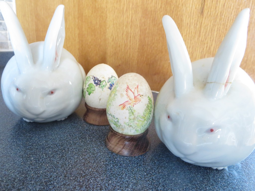 Ceramic Bunnies from Japan guarding 60-year-old Easter eggs. Photo: Lucy Martin