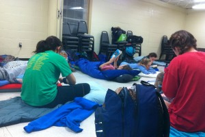 Sleeping on the floor at the Goldsboro Community Center. Photo: Ellen Rocco
