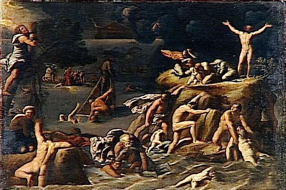 """Le Deluge,"" Antonio Carracci, c. 1615."