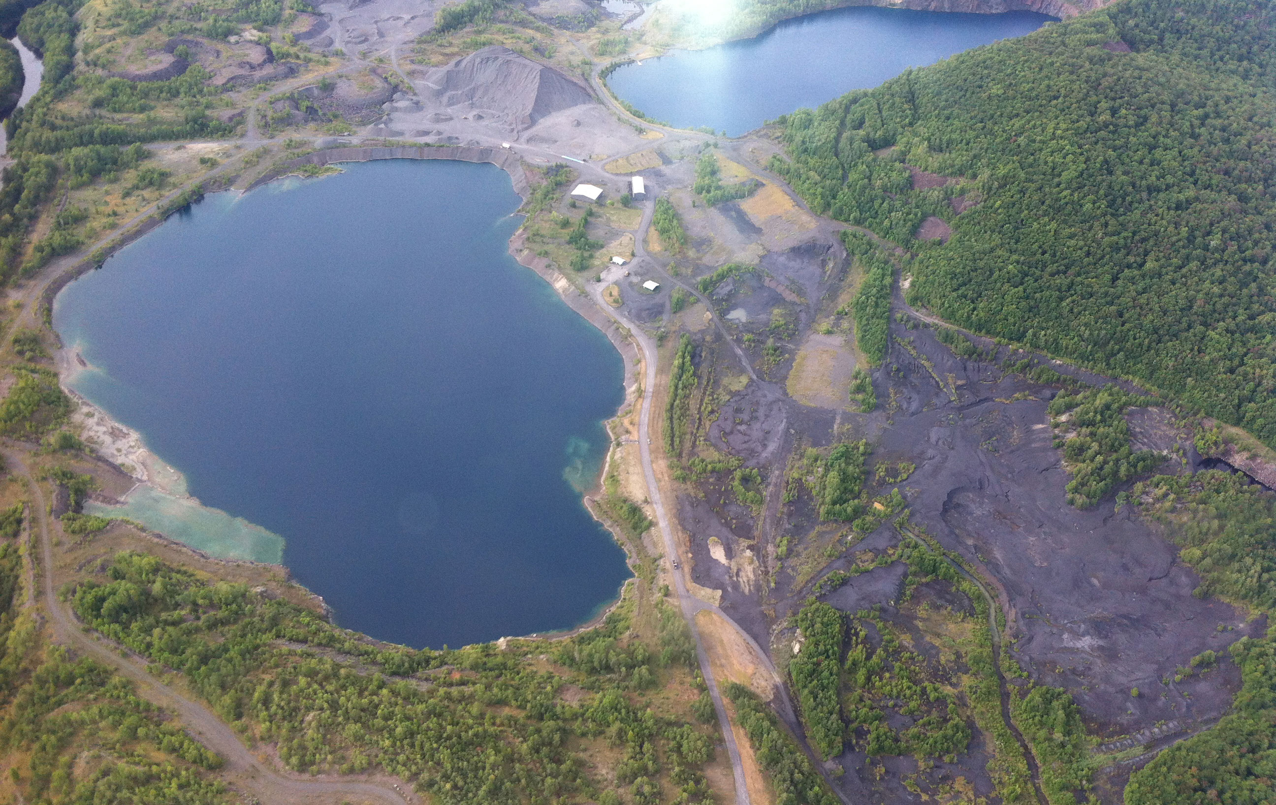 The Tahawus mine site, from Tom Helms' plane. Photo: Ellen Rocco
