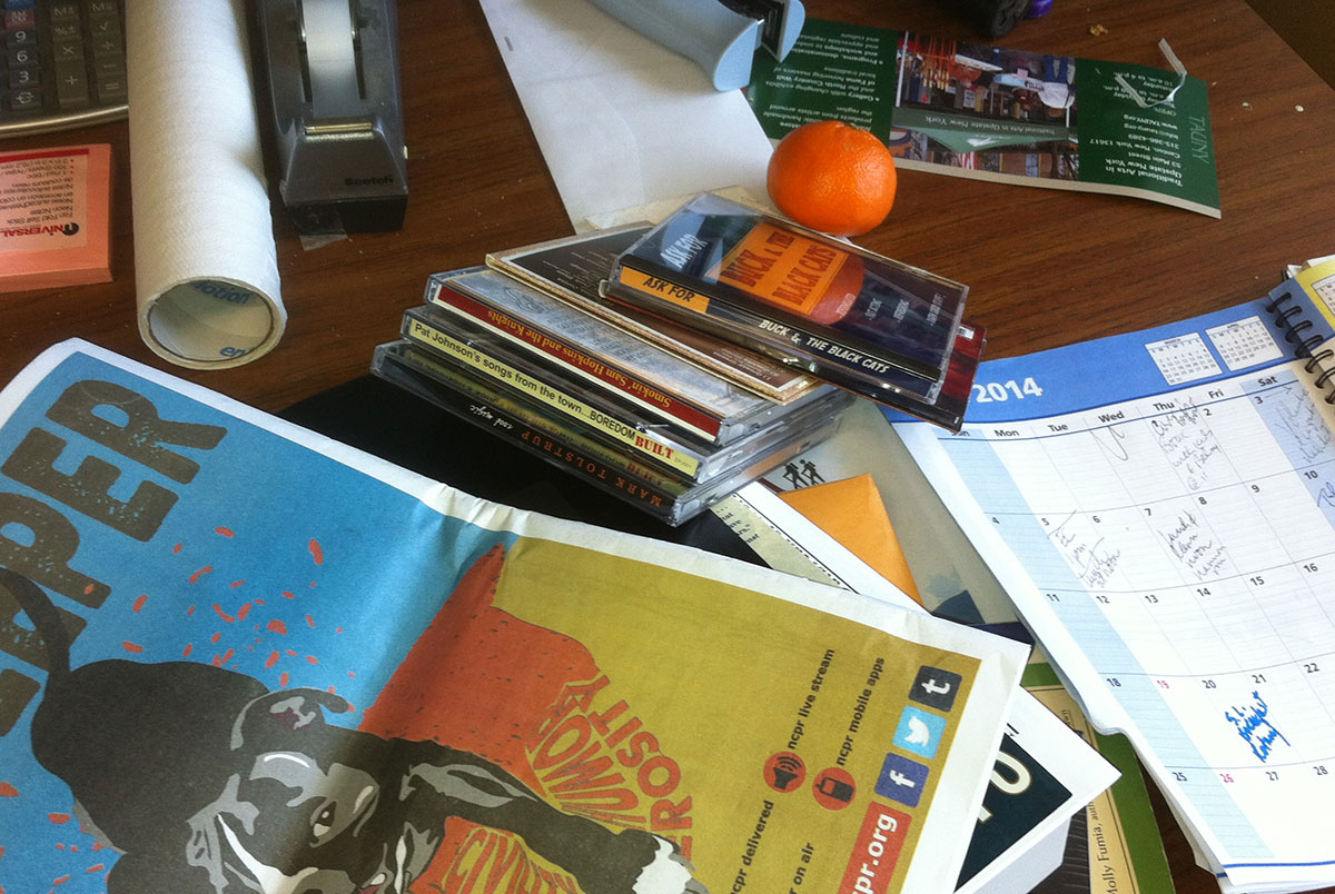 My desk: socially responsible? innovative? or just needing to take the time to clean up my desk? Photo: Ellen Rocco