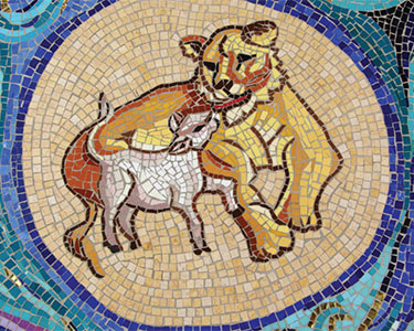 Lion and Lamb, mosaic. Church of the Transfiguration, Orleans, MA