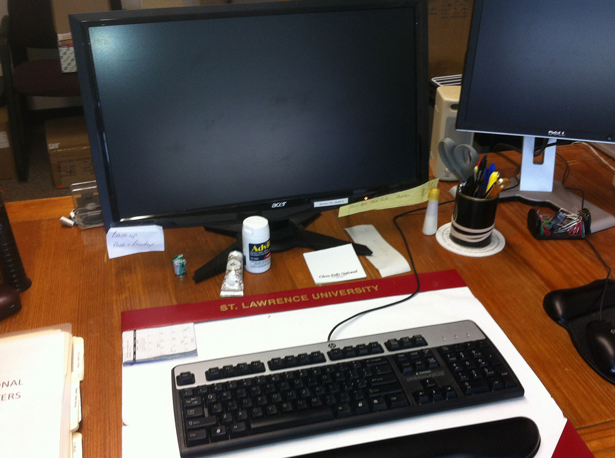 Sandy's desk: clearly socially responsible. Photo: Ellen Rocco
