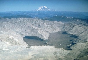 Spirit Lake filled with debris from the eruption. October 4, 1980. USGS Photograph taken by Lyn Topinka