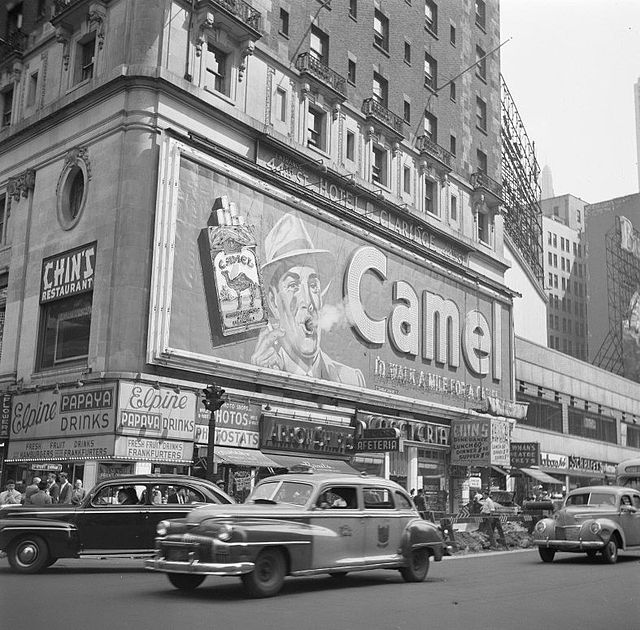 The Camel billboard in Times Square, 1948. Photo: National Archives, via Wikipedia
