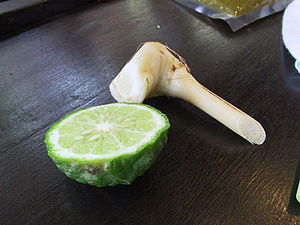Citrus hystrix Kabuyao (Cabuyao) fruit (left), used in Southeast Asian cooking, with galangal root. (Image by Fuzheado Creative Commons, Wikipedia)