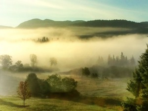 Sneak preview--tomorrow's Photo of the Day. Foggy morning in the Ausable River valley. Photo: Larry Master, Lake Placid, NY