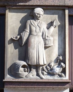 A relief of Frugality on the Ceska sporitelna building, Czech Republic. Image by SJu, Creative Commons.