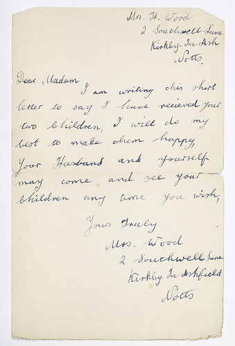 Letter from Eileen and Shirley Hussey's foster mother to Mrs. Hussey, 1940. Over 35,000 children were evacuated from Birmingham during the second world war. Children left at short notice with few possessions, and their parents often didn't know where they were going. Some children were unwelcome, or even mistreated. Letters provided vital contact with home. Some parents either refused to send their children away or brought them home before the war ended. Many Birmingham children perished in air raids. Photo: Birmingham Museum via Creative Commons