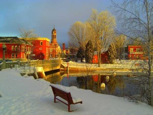 "North Country downtown: Saranac Lake on Christmas Day, but it could just as easily be after a ""May surprise."" Archive Photo of the Day: Tom Dudones"
