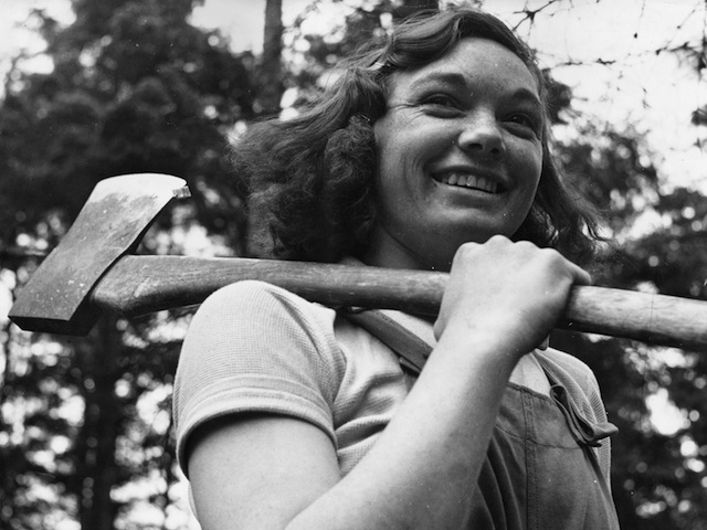 I'm taking on something new just like Miss Cicely Clark in 1942, of The Women's Timber Corps at work in a timber camp in Suffolk as part of the war effort.  (Photo by Horace Abrahams/Keystone Features/Getty Images)